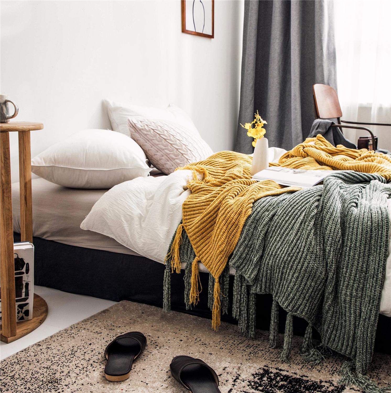 Estilo nórdico moda tricô sarja poliéster cobertores casual cobertura do sofá cobertor cama toalha borla decorativo cor sólida lança