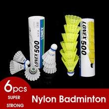 Tête de balle ronde en Fiber de Nylon, volant Super Nylon 6 pièces/tube, Badminton Durable pour lentraînement en plein air