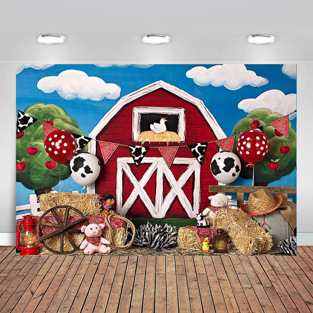 Fazenda tema do bebê recém-nascido retrato fotografia pano de fundo vermelho celeiro barnyard animais festa de aniversário fundo photocall photo studio