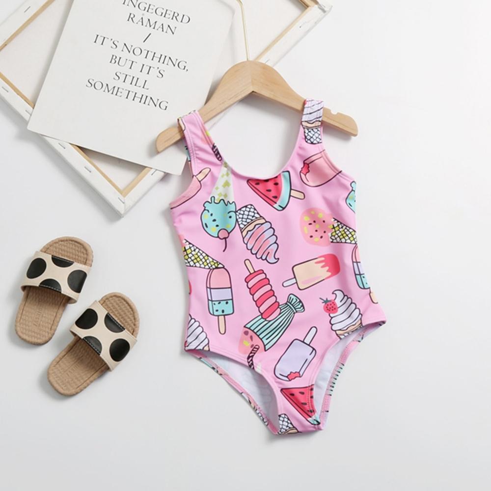 Bebê crianças meninas sem mangas dos desenhos animados sorvete imprimir um pedaço maiô roupa de banho crianças criança verão bikini beach wear outfits