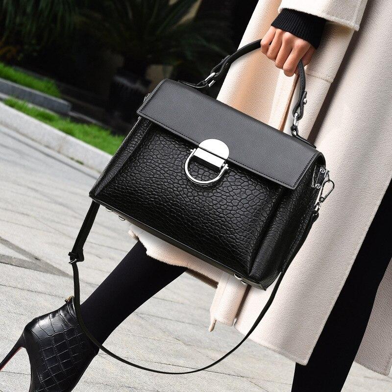 الشهيرة مصمم حقائب النساء 2021 موضة جديدة التمساح نمط حقيبة يد بسيطة رسول صندوق مربع صغير كيس كبير فام