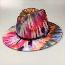 NEW FASHION Tie Dye Fedora Jazz Hat Women Flat Wide Brim Panama With Belt Wool Felt Colorful Fedora