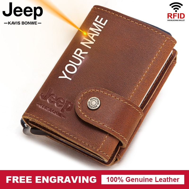 Rfid Blocking Protection ID Credit Card Holder Wallet Men Leather Metal Aluminum Business Bank Card