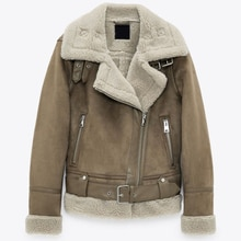 2020 Winter Women Thick Warm Vintage Suede Lambs Biker Jackets Coat Sashes Solid Outwear Tops Female