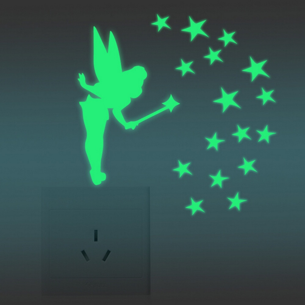 Ala de brillo de hadas acrílico fluorescente luminoso brillo en estrellas oscuras Diy pegatina Scrapbooking Sticky papelería suministros escolares