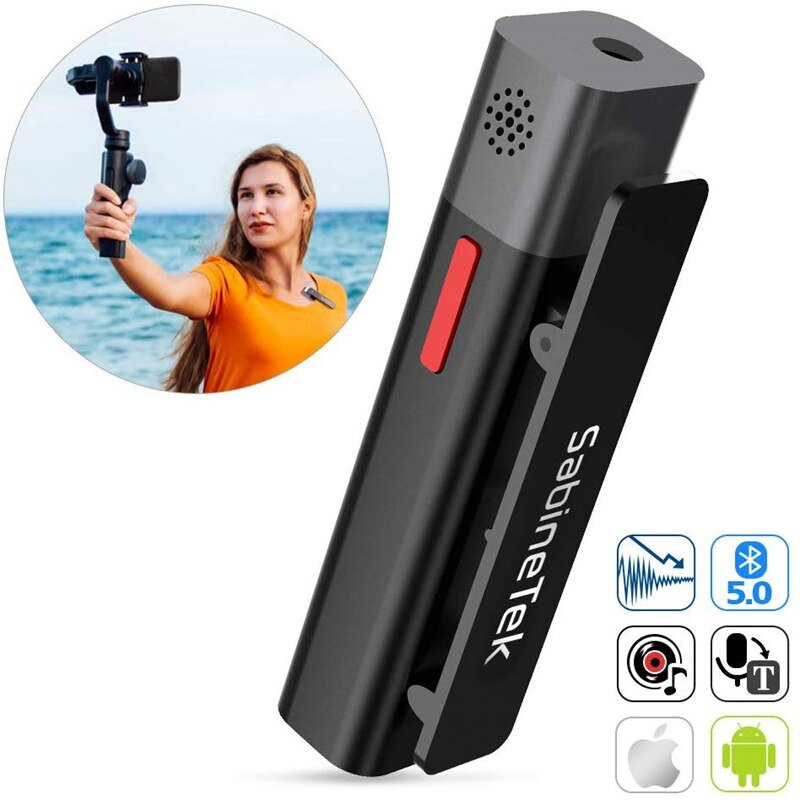 SmartMike + Micrófono Lavalier estéreo inalámbrico para los desarrolladores de contenido, cámara, teléfono, solapa, vídeo, micrófono para grabación Youtuber Vlogging