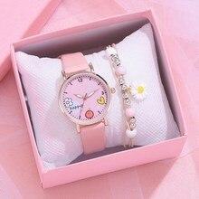 1pcs New Kids Watches Set Students Children Pink Watch Girls Leather Strap Child Hours Quartz Wristw