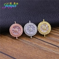 juya handmade cubic zirconia 2 loops round charm connectors accessories for diy fashion bracelet earringsnecklace jewelry making