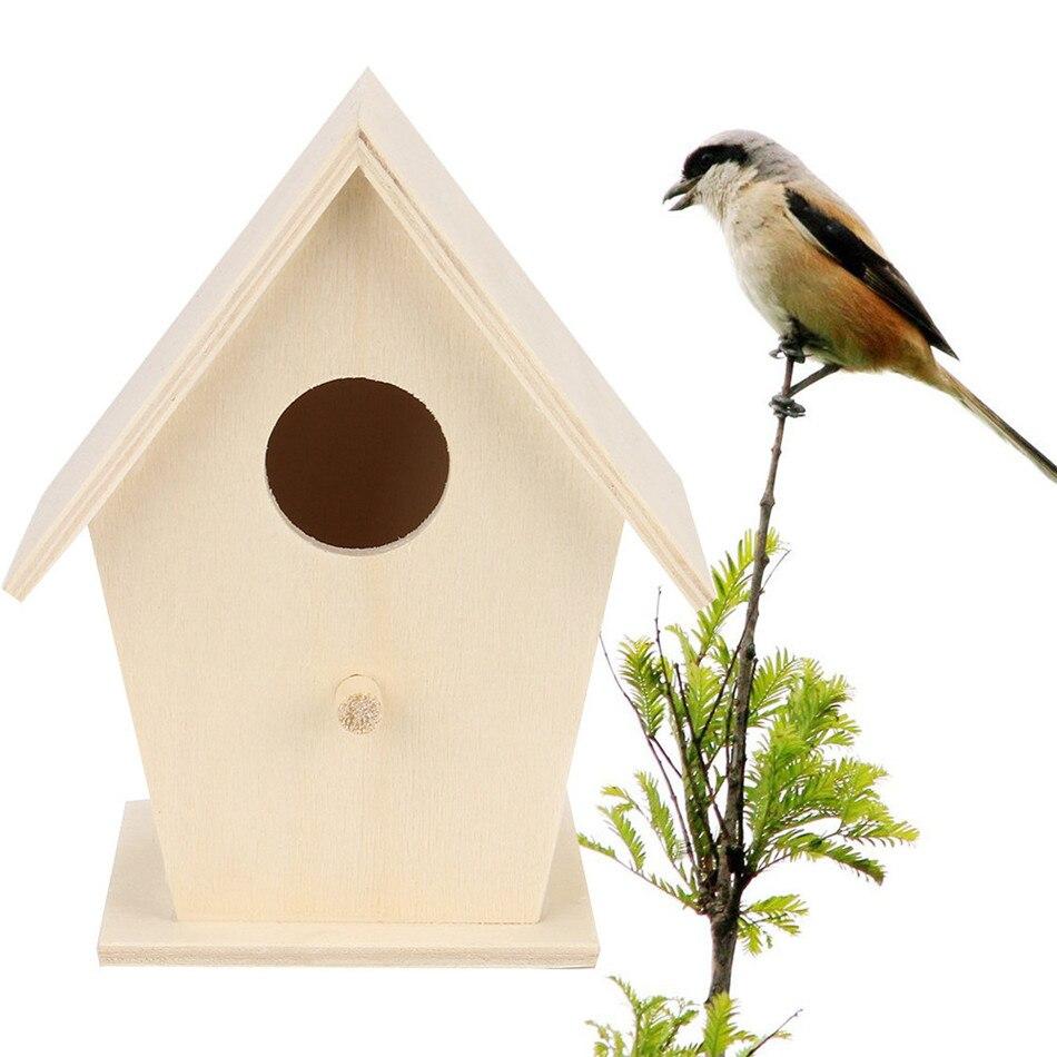 VOGVIGO DIY Wooden Bird House Nest Handmade Eco-friendly Bird Nest Cage Outdoor Birdhouse Garden Yard Hanging Decoration Crafts