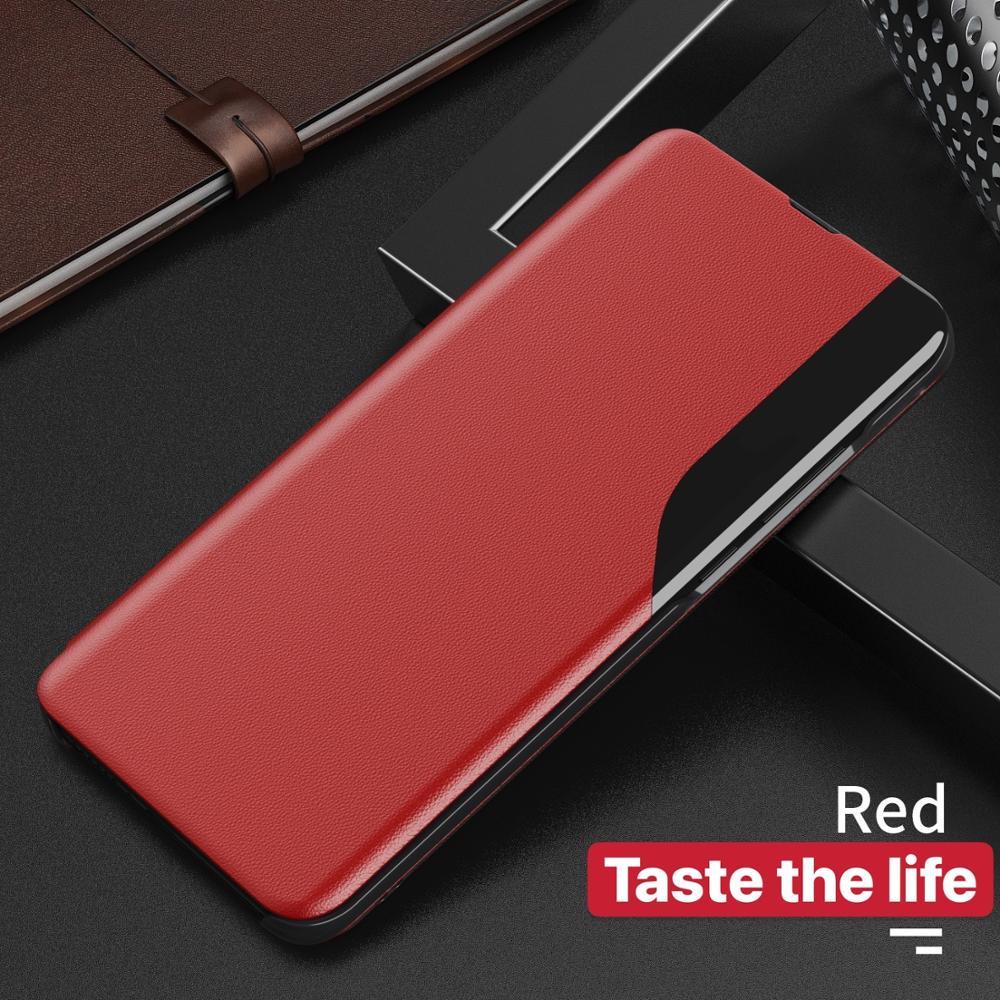 Housse à rabat magnétique étui pour téléphone intelligent en cuir Huawei P40 Pro P30 P20 P Smart 2020 Mate 20 réveil vue du sommeil fundas