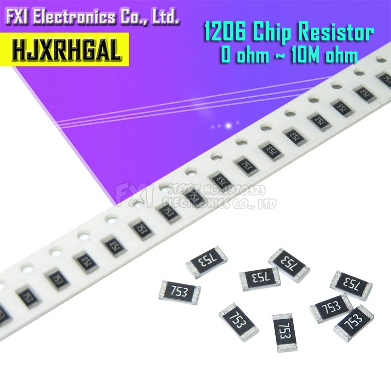 100Pcs 1206 SMD resistor 0R ~ 10M 1/2W 0 1 10 100 150 220 330 ohm 1K 2.2K 10K 100K 0R 1R 10R 100R 150R 220R 330R