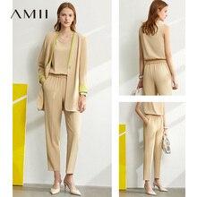 Amii minimalisme Sping été ensemble Oneck sans manches gilet femmes taille haute pantalon dame en mousseline de soie manteau vendu séparément 12060912