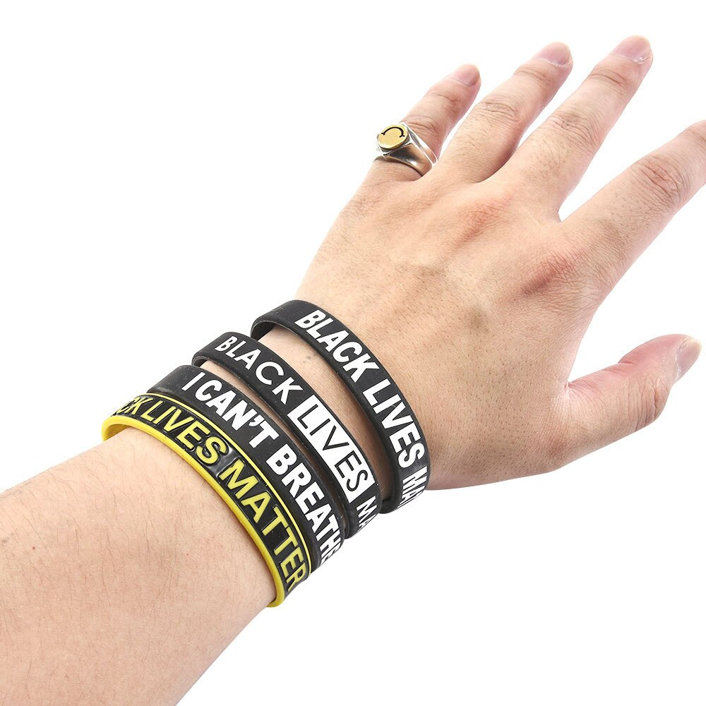 No puedo respirar Black Lives Matter pulsera de goma de silicona Flexible muñequera, correa de muñeca pulsera brazaletes de fiesta deportiva