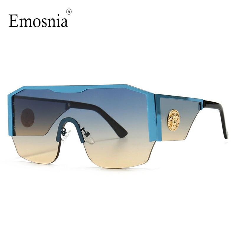 2021 New Modern Oversized Square Sunglasses Men Women Big Frame One Piece Lens Sun Glasses Gradient