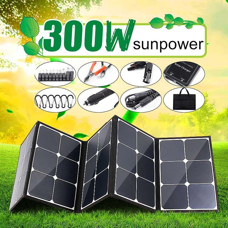 Panel Solar portátil de 300W y 12V, Panel Solar plegable para exteriores, para acampar/barco/RV/Viajes/kits de paneles solares de coche doméstico