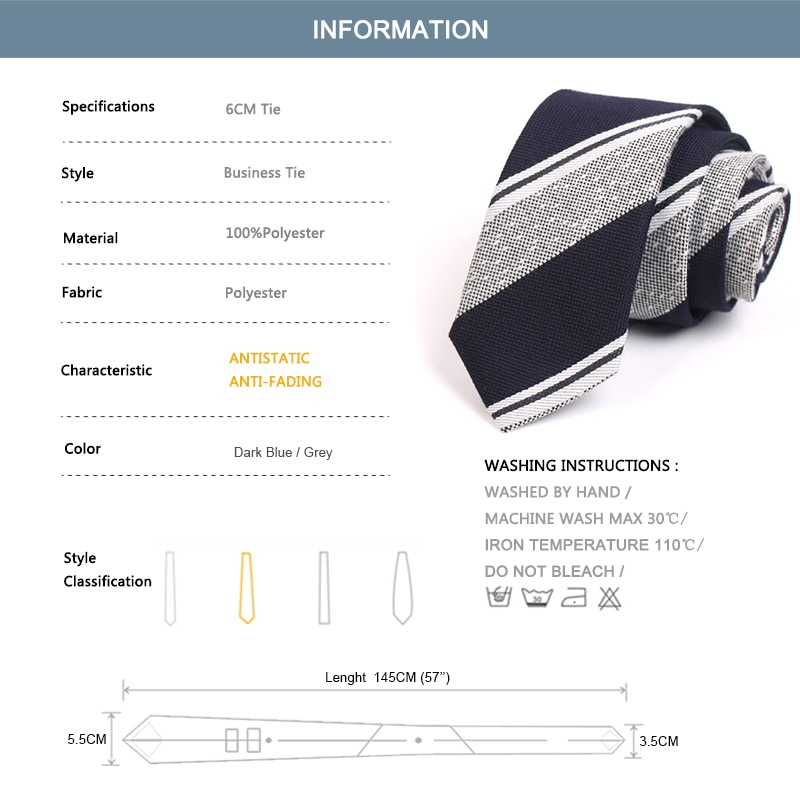 2020 New Mens 6CM Grey & Blue Striped Ties High Quality Fashion Formal Neck Tie For Men Business Suit Work Necktie Gift Box
