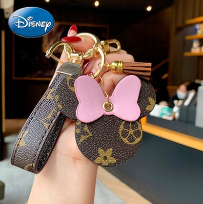 Disney Mickey Mouse Leather Car Keychain Creative Key Chain Pendant Men and Women Couple Bag Ornaments  - buy with discount