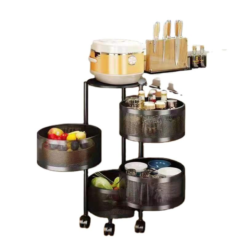 Household Square Round Floor Type Multi-layer fruit Rotatable Kitchen Vegetable Storage Rack