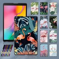 flamingo pattern durable plastic back cover for samsung galaxytab a 8 0 2019 t290 t295 tablet hard shell case free stylus