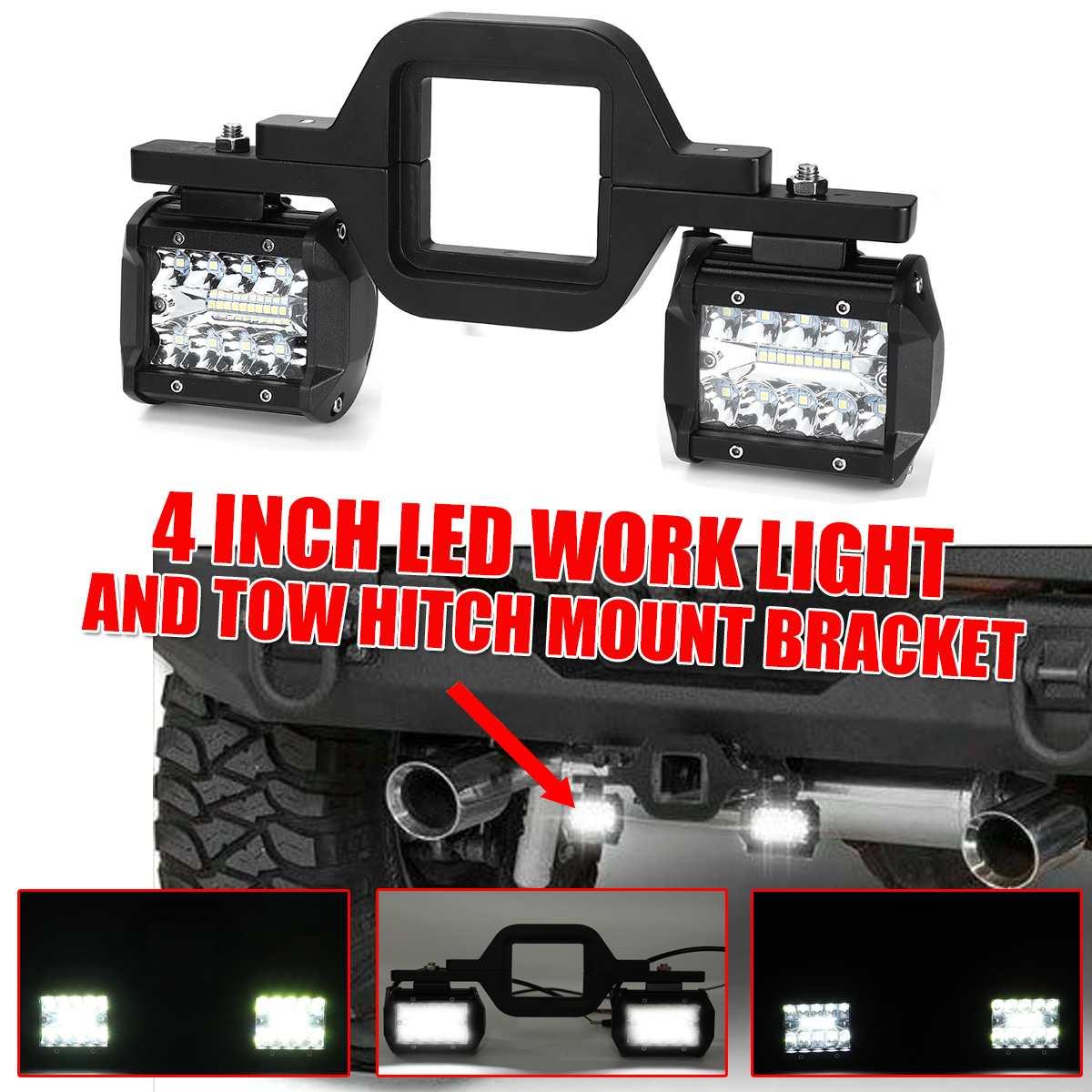 4 inch 8 LED Work Light Spot Flood Offroad Reverse Lights Bar with Trailer Tow Hitch Mount Bracket for Pickup Truck Van Camper