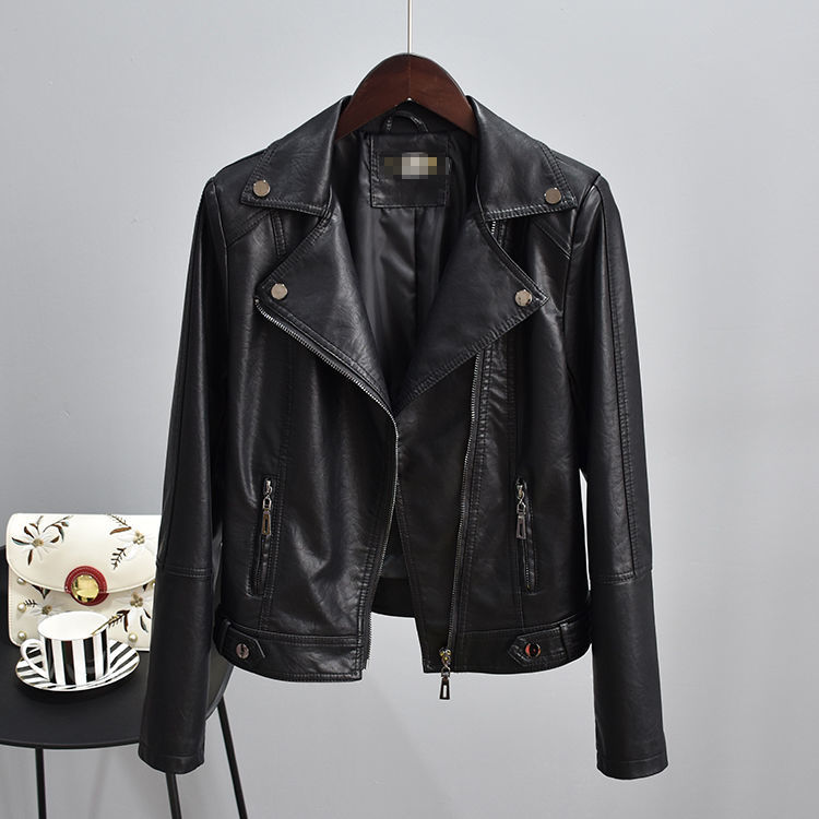 2021 women winter short coat sheep skin leather women Liu Ding new motorcycle coat