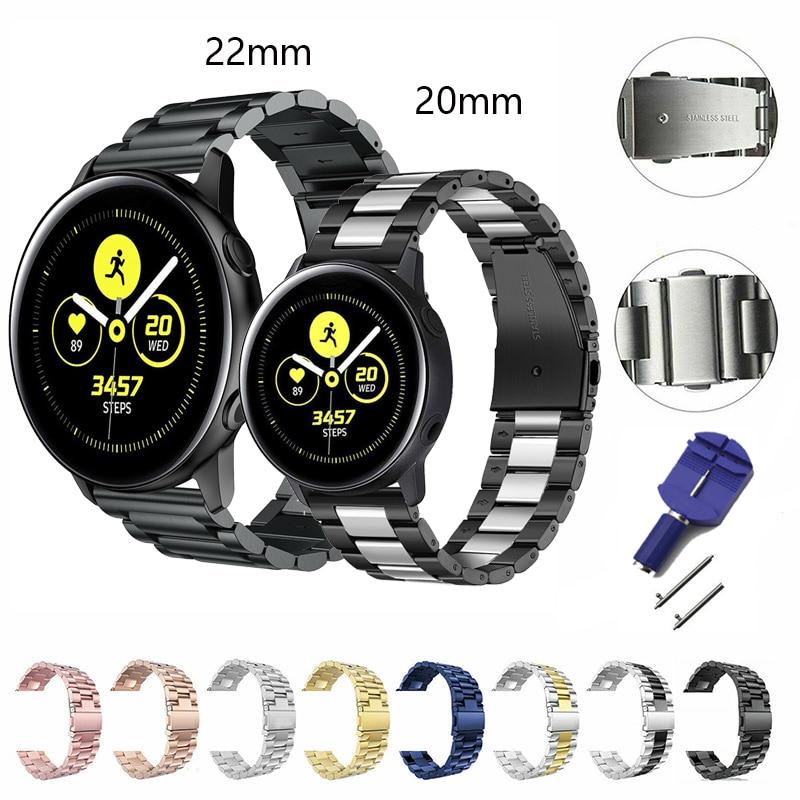 Ремешок 20 мм 22 мм 316L для Samsung galaxy watch active2 42 мм 44 мм спортивный ремешок для Samsung active watch 42 46 мм Gear S3 s2 watchStrap