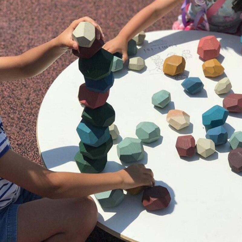 Gran oferta, bloques de Jenga de madera con diamantes en 3D, juguetes educativos para niños, juguetes de madera con piedra arcoíris, bloques de construcción para bebés