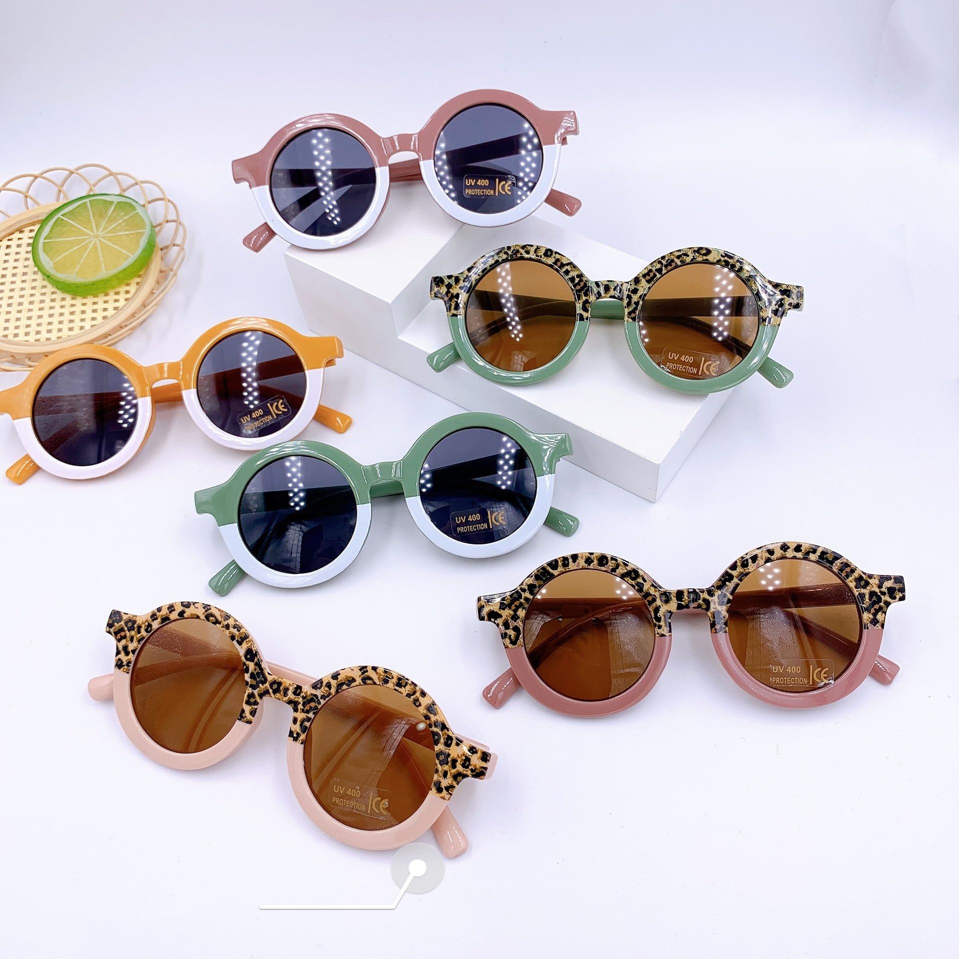 MADELINY Children Boy Girl Cute Leopard Double Color Round Sunglasses Kids Vintage Sun Glasses UV400
