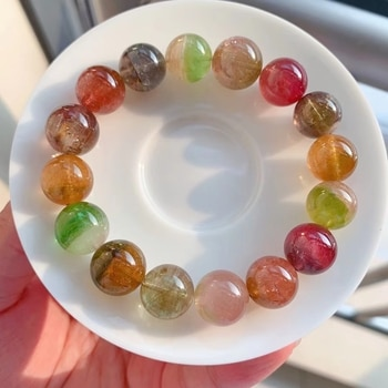 Natural Colorful Tourmaline Crystal Clear Round Beads Bracelet 12.7mm Women Crystal Jewelry Candy Tourmaline AAAAAAA