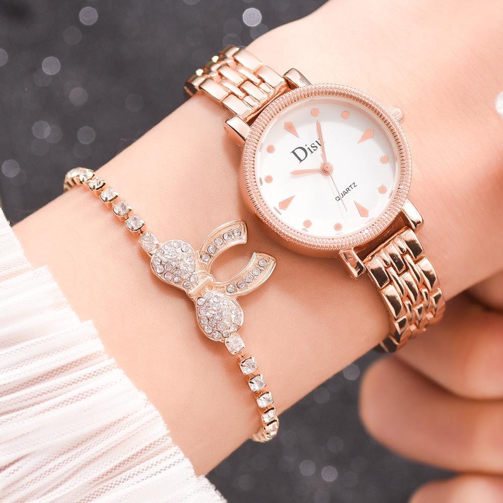 2 uds. Relojes de pulsera de lujo de la mejor marca para mujer, reloj de pulsera de cuarzo con diamantes a la moda para mujer, reloj de pulsera para mujer, nuevo reloj femenino