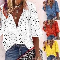 autumn fashion women plus size snowflake print 34 sleeve v neck blouse shirt