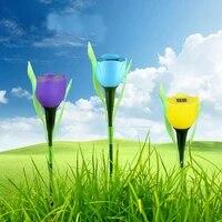 solar light solar tulip flower lamp multi color led outdoor waterproof garden yard path lawn insert solar lamp 1pc