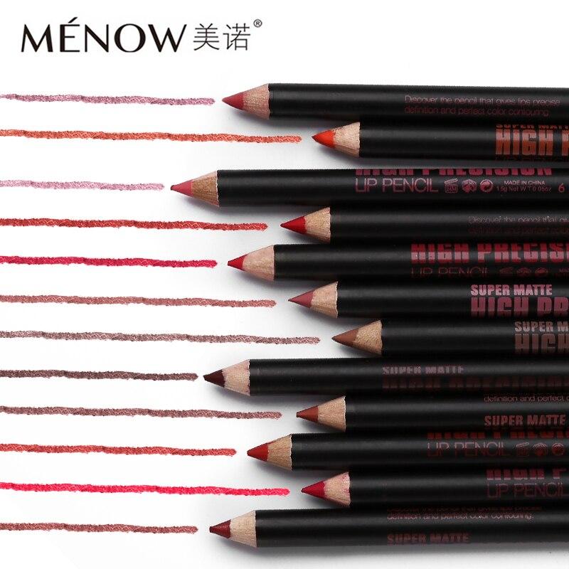 12pcs/lot 1pcs Menow Makeup Brand Pencils for Lips Waterproof Lip Liner Set Super Matte Lipliner Pen Enriched with Aloe Vera