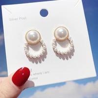 new korean pearl earrings drop for women styles cute tassel round statement stud earrings pearl fashion jewelry free shipping