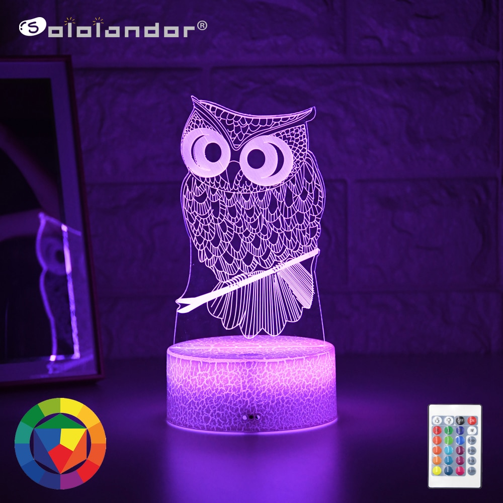 Newest Kid Light Night 3D LED Night Light Creative Table Bedside Lamp Romantic Owl light Kids Gril Home Decoration Gift kids light night 3d led night light creative table bedside lamp unicorn light kids home decoration toys gift 3d led lamp 7 color