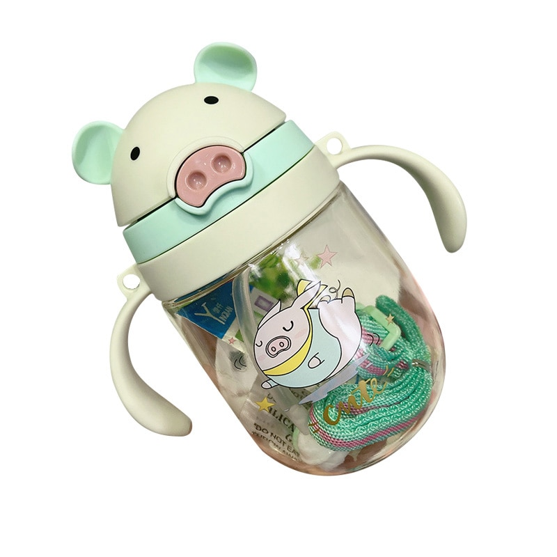 350ml Baby Cartoon Cup students with Straw Children Learn Feeding Drinking Bottle Kids Training Cup With Straw Taza De Bebe