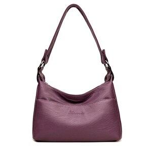 2019 модная женская сумка на плечо из высококачественной кожи, однотонные Повседневные Сумки из искусственной кожи, сумка-мессенджер, женски...