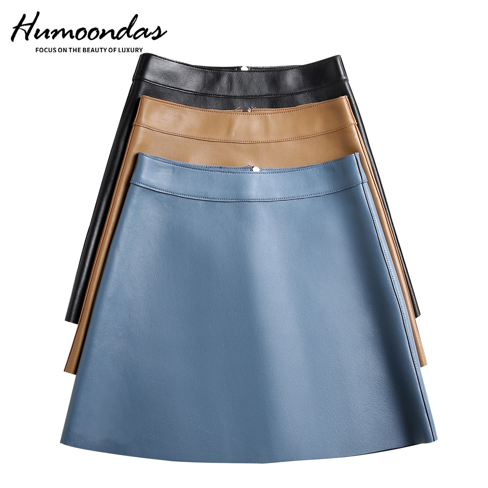 Classic Blue Genuine Leather Skirts Womens Fashion High Waist Real Sheepskin Sexy Mini Skirt Plus Size Women Streetwear Clothes