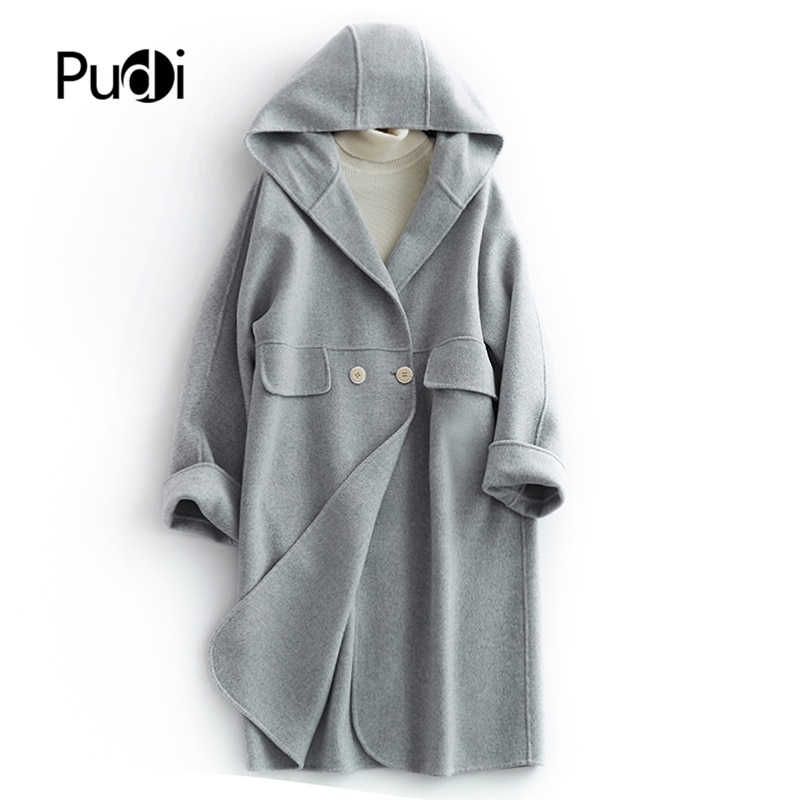 2020 Women Winter new fashion wool jacket wool fur coat jacket female ladys long style hooded pocket trench clothes V2001