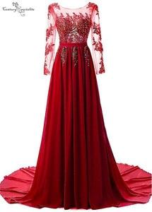 Long Sleeves Burgundy Evening Dresses Lace Appliques Beaded Sequins Mother of Bride Dress Party Gown Prom Dress Vestido De Festa