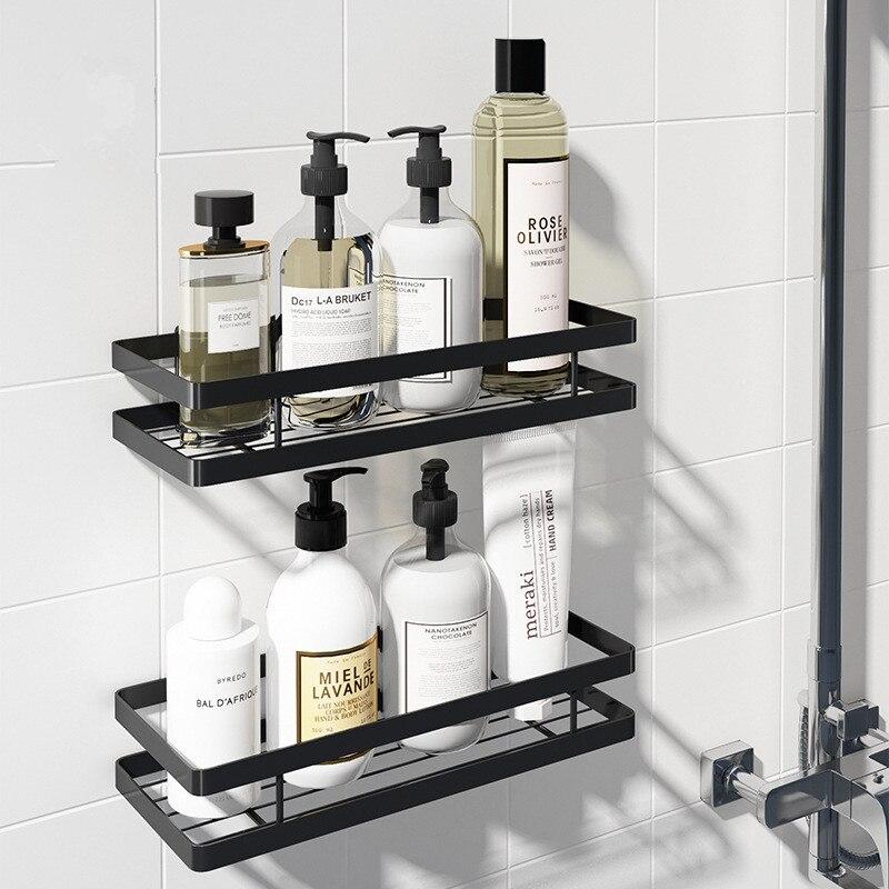 Полка для ванной комнаты, алюминиевый черный держатель для хранения ванны, душевая полка 20-50 см на кухню стену полку, держатель для туалетного шампуня без дрели