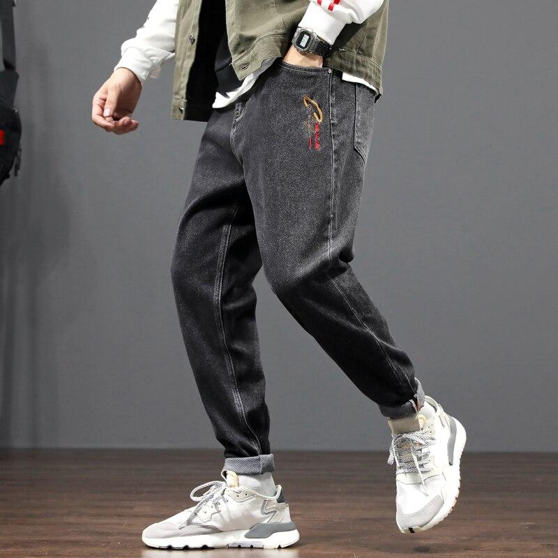 Pantalones vaqueros de estilo coreano a la moda para hombre, pantalones de pierna ancha de diseñador con bordado, pantalones bombachos, ropa para Calle de hombre, pantalones vaqueros de Hip Hop para hombre