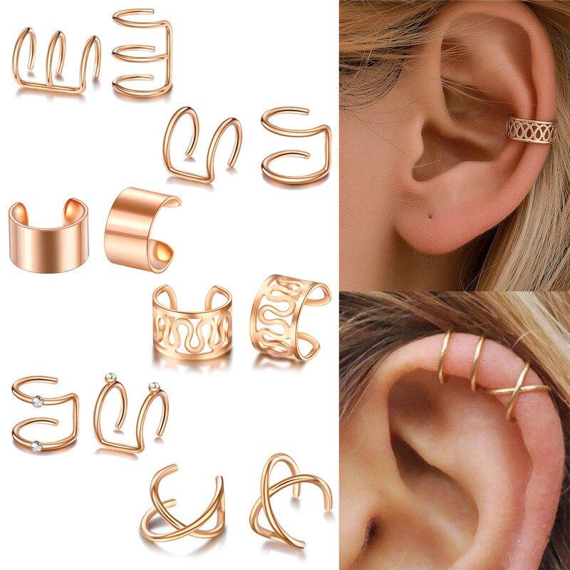 Ear Cuff Gold Leaves Non-Piercing Ear Clips Fake Cartilage Earring Jewelry For Women Men Wholesale g