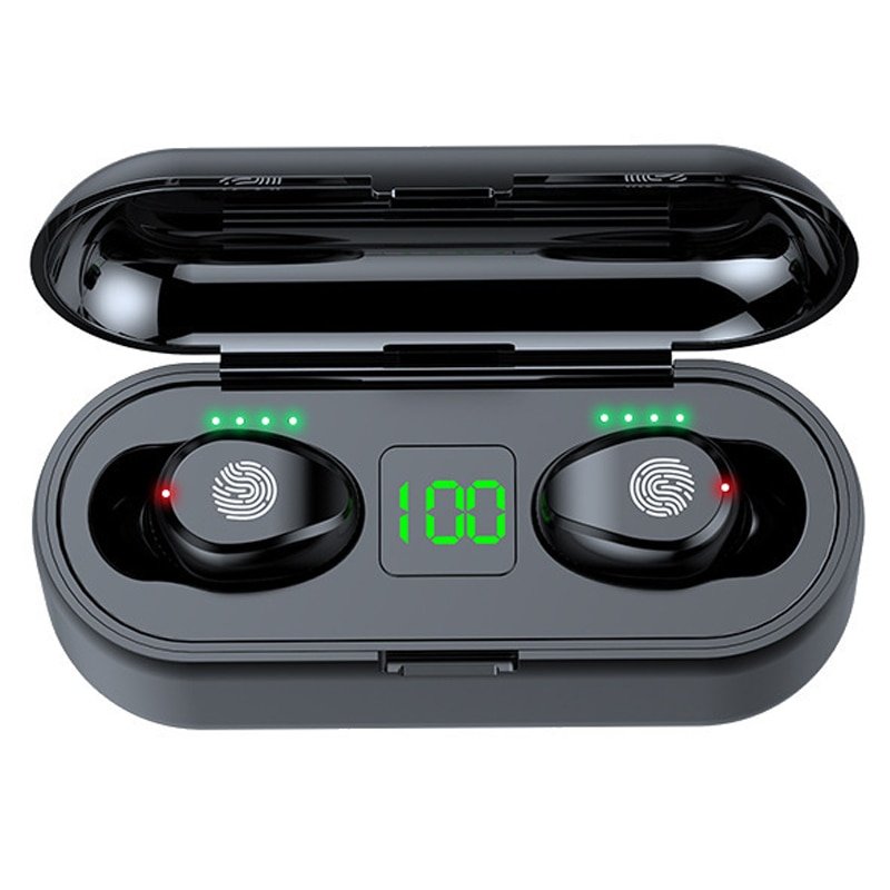 F9 TWS Wireless Bluetooth Earphone Headphone Sport Touch Mini Earbuds Stereo Bass Headset with 2000mAh Charging Case Power Bank t18 tws bluetooth new private model headset 5 0 wireless dual earphone mini bluetooth headset with charging compartment