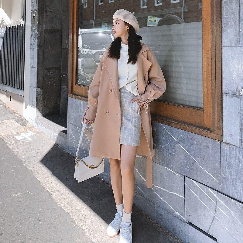 Gabardina coreana rosa para Mujer, Abrigo informal holgado a la moda, Abrigo...