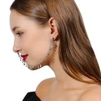 fashion european and american personality punk sexy alloy women earrings geometric tassel chain earrings nose clip