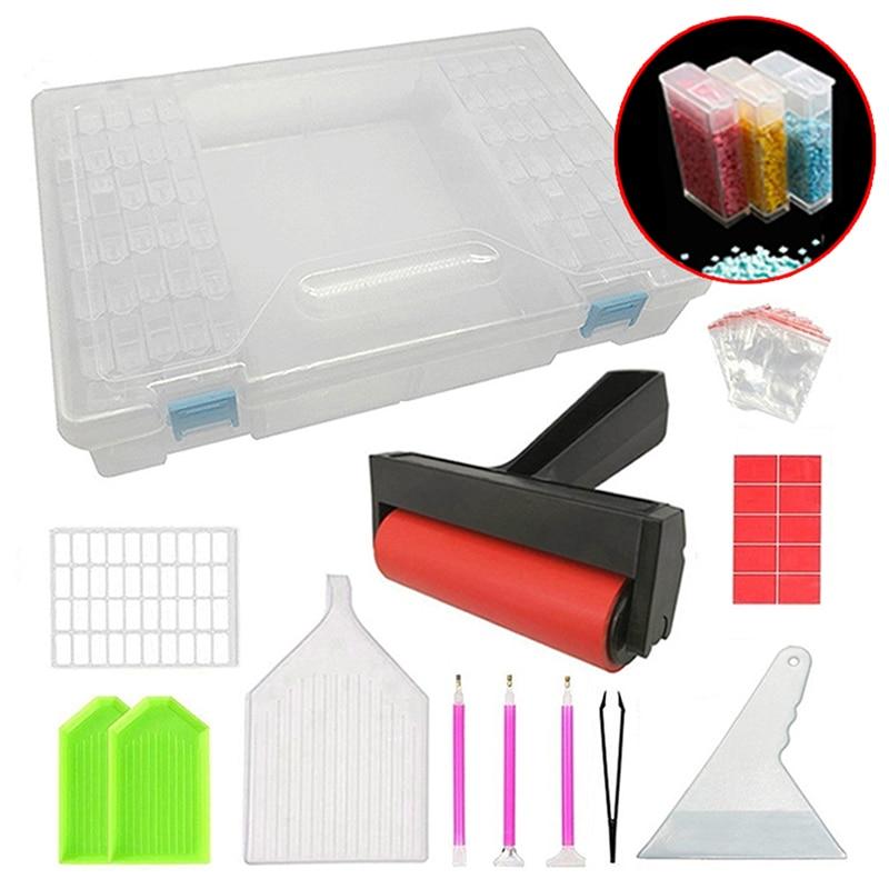 Ferramentas de pintura de diamante, pacotes de ferramentas de pintura de diamante com 64 células caixa de plástico adesivo e rolo etc. múltiplos em 1 para pintura de diamante bordado