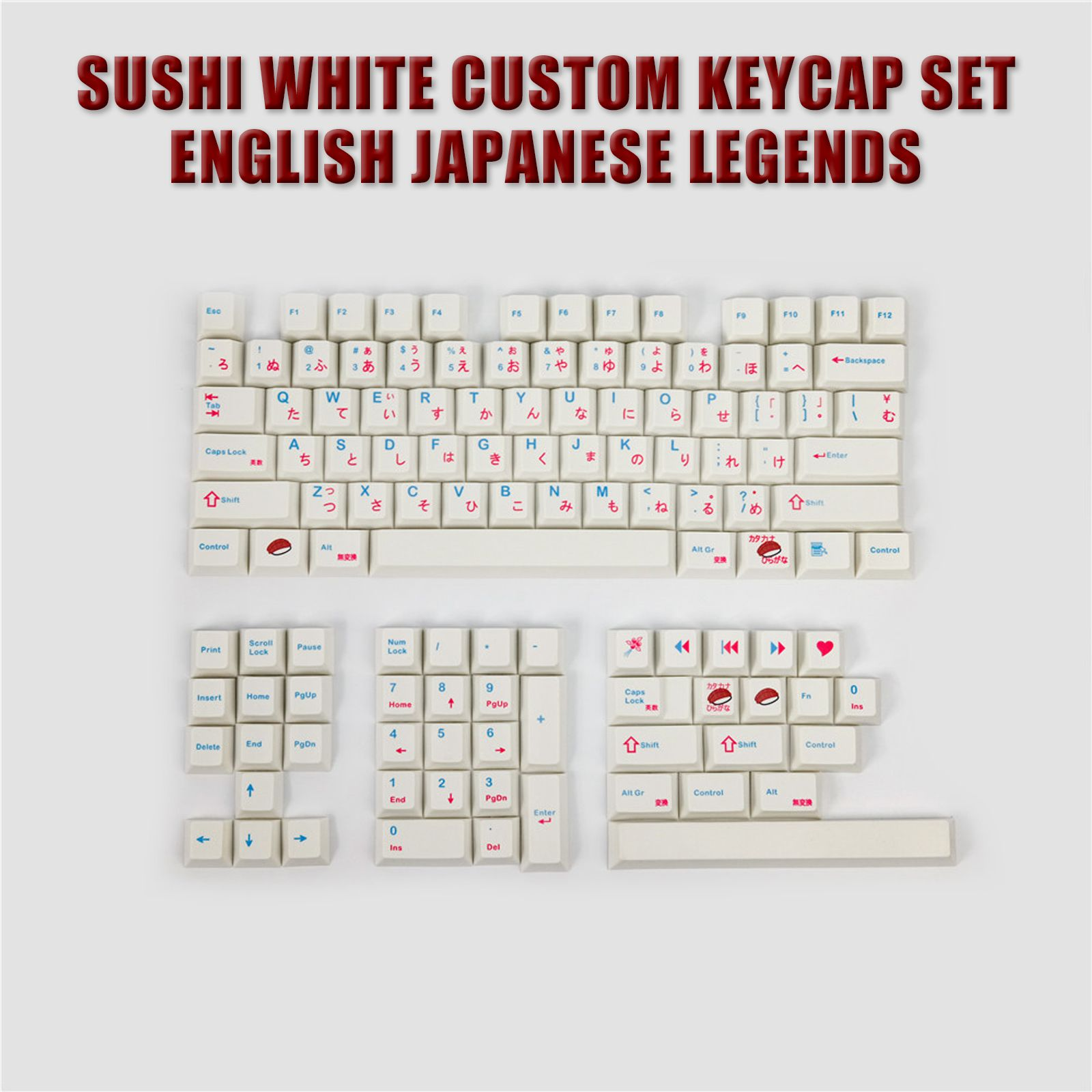 2021 New Japanese Sushi White Custom Keycap Set English Japanese Legends For MX Switches Mice & Keyboards Accessories