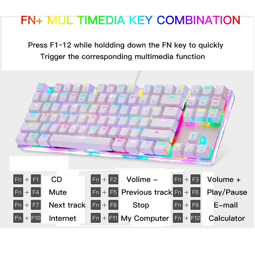 Motospeed K87S Gameing Mechanical Keyboard LED With RGB Backlight USB Wired 87 Keys Red/Blue Switch For PC Computer Laptop Gamer