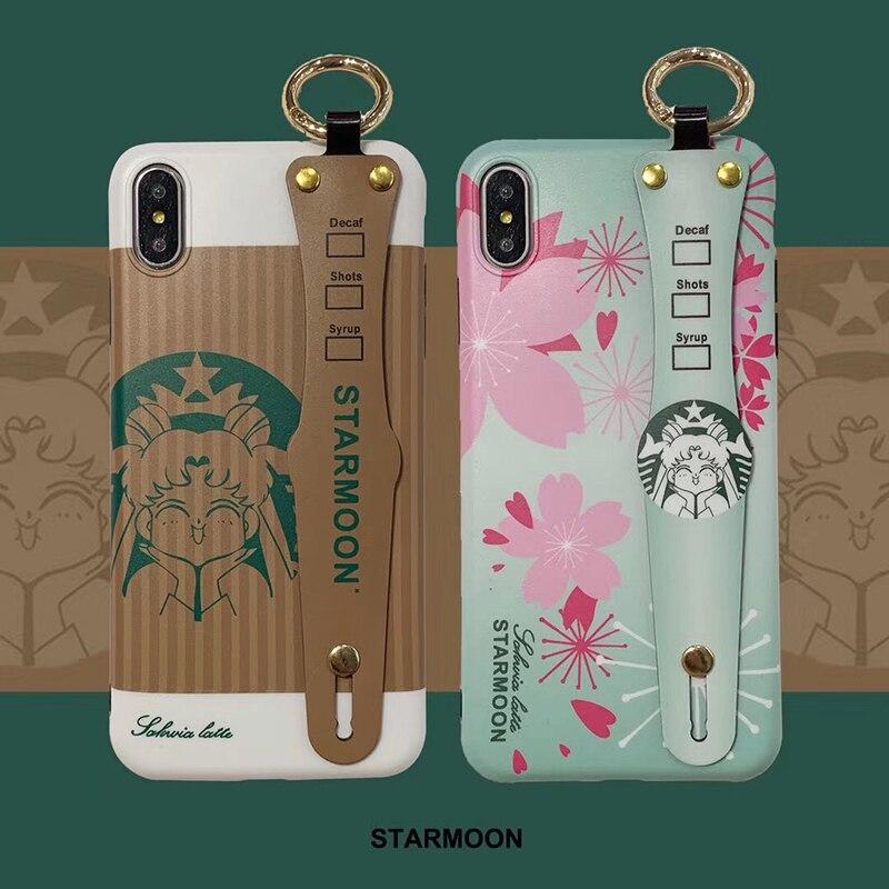 Funda de silicona suave con soporte para muñeca Sailor Moon para iphone 7 7plus 8 8plus X XR XS Max 11 Pro